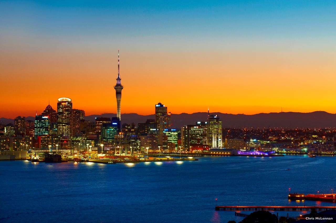 Auckland city at night